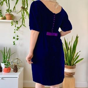 Vintage 60s blue velvet half sleeve mini dress M